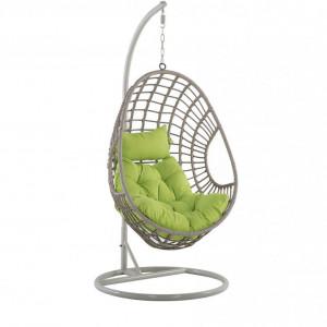 Fotoliu suspendat cu suport Arpino, verde/bej, 96 x 96 x 200 cm