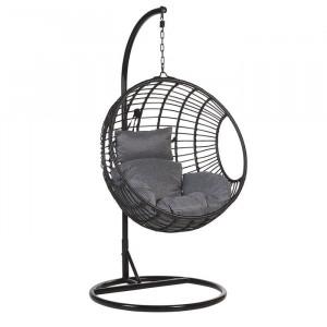 Fotoliu suspendat Yvette Swing cu suport, ratan/ metal, 199 x 99 x 97 cm