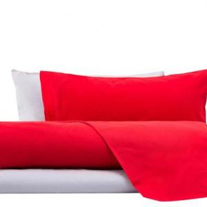 Lenjerie pat Color rosso/gri , pentru o persoana