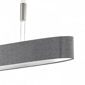 Lustra tip pendul LED Romao II tesatura / otel, 4 becuri, gri, 220 V, 4 W