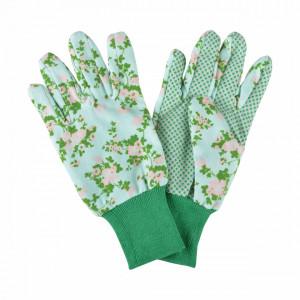 Manusi pentru gradinarit cu flori, verde