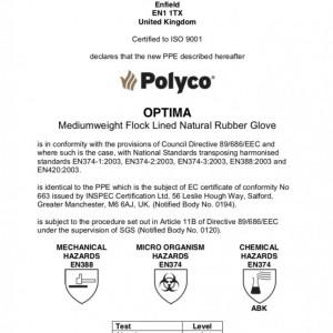 Manusi Polyco Optima din cauciuc, verde, marimea L