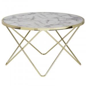 Masa de cafea Christofferso, alb/gri/auriu, 49 x 85 x 85 cm