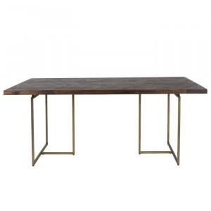 Masa de living Class by Dutchbone, lemn/ metal, maro/ alama, 180 x 90 x 75 cm