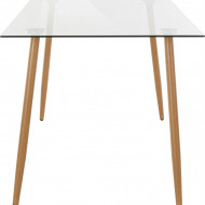 Masa dreptunghiulara Miller sticla/lemn, transparent/maro, 140x80x75 cm