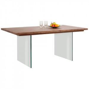 Masa Home Affaire Megan, 200 x 100 cm, lemn masiv/ sticla