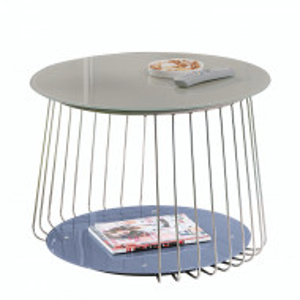 Masuta de cafea Bird metal/sticla, bej inchis, diametru 70 cm