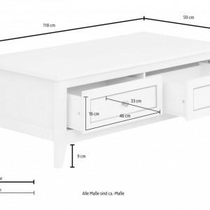 Masuta de cafea Victoria lemn/arama, alb, 2 sertare, 118 x 59 x 41 cm