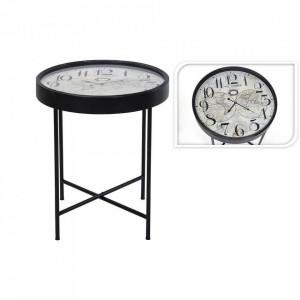 Masuta laterala cu ceas si harta, rotunda, metal/sticla, negru, 63 x 70 cm