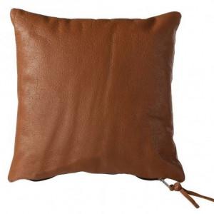 Perna Estoril, piele/ bumbac, maro, 50 x 50 cm