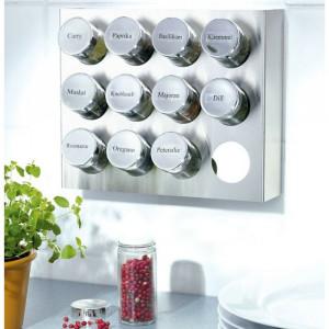 Raft pentru organizare condimente, metal, 21 x 25 x 6 cm