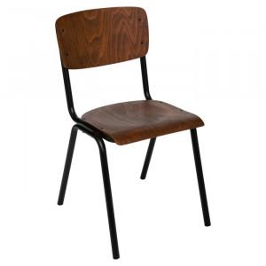 Scaun Eberhart, metal/lemn, negru/maro, 83 x 44 x 47,5 cm