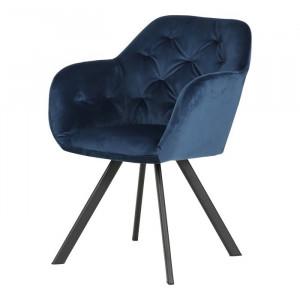 Scaun Lola, textil, albastru, 81,5 x 57,5 x 61,5 cm