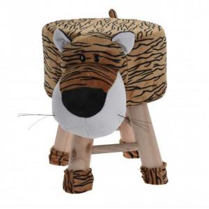 Scaun tapitat pentru copii Karll, Model tigru, Lemn, Maro