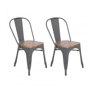Set 2 scaune de masă Claremont din metal, gri, 83cm H x 44cm W x 51cm D