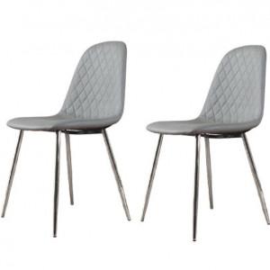 Set 2 scaune de masă tapițate Trapp, gri, 86 x 45 x 57 cm