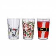 Set 3 pahare Xmas, Karll, 225 ml, sticlă, multicolor