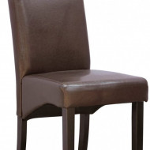 Set de 12 scaune de living Cambridge, piele sintetica maro, picioare lemn inchis