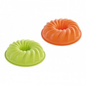 Set de 2 forme de budinca, silicon, verde si portocaliu