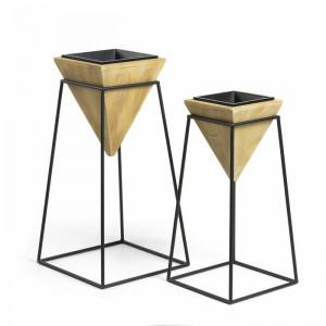 Set de 2 ghivece Gialou, metal/lemn, aurii, 83 x 43 x 43 cm