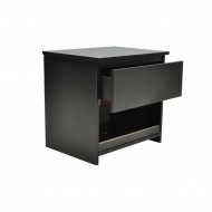 Set de 2 noptiere cu sertar, MDF și PAL, negru, 39cm H x 40cm W x 30cm D