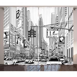 Set de 2 perdele New York, alb/negre, 140 x 245 cm