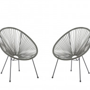 Set de 2 scaune Acapulco II, gri/negru, 70 x 90 x 87 cm