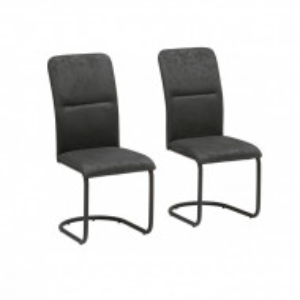 Set de 2 scaune Amabella Freja, velour, gri antracit