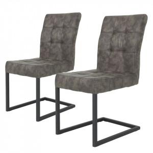 Set de 2 scaune Clyde microfibra/otel, gri, 42 x 62 x 91 cm