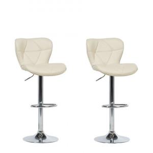 Set de 2 scaune de bar VALETTA, bej/argintii, 45 x 39 x 109 cm