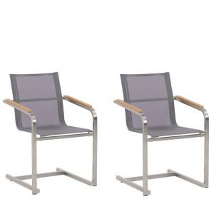 Set de 2 scaune de gradina Cosoleto, gri, 56 x 55 x 85 cm