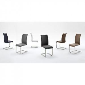 Set de 2 scaune din piele sintetica Marco, maro