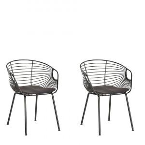 Set de 2 scaune HOBACK, metal, negre, 46 x 56 x 79 cm