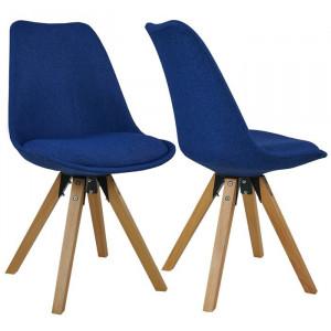Set de 2 scaune Lauri, maro/albastre, 82 x 49 x 51 cm