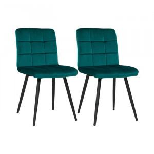 Set de 2 scaune Leann, metal, turcoaz, 84,5 x 44 x 52 cm