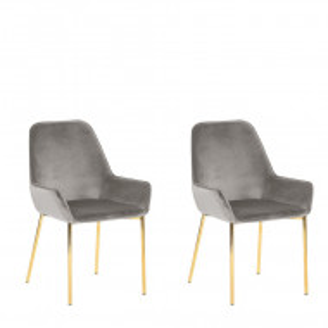 Set de 2 scaune LOVERNA, gri/aurii, 59 x 59 x 89 cm