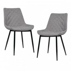 Set de 2 scaune Melrose, gri, 51 x 42 x 80cm