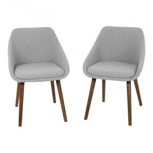 Set de 2 scaune tapitate Raylan, Gri, 77,5 x 51,5 x 55,5 cm