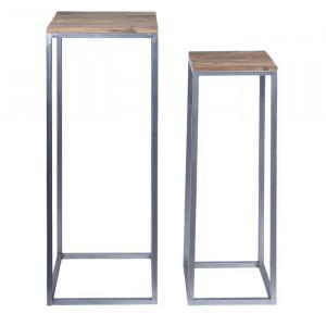 Set de 2 standuri pentru ghivece Ayleen, lemn/metal