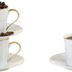 Set de 3 căni pentru cafea Lux, albe/aurii, 12 x 6 cm