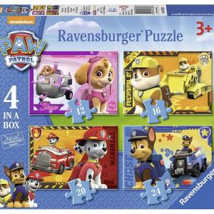 Set de 4 mini puzzle-uri Ravensburger cu Paw Patrol