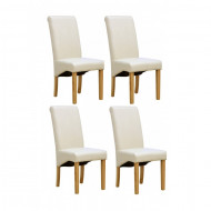Set de 4 scaune de living Cambridge, piele sintetica, picioare lemn natur, crem