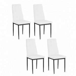 Set de 4 scaune Kelly - piele sintetica/metal, alb