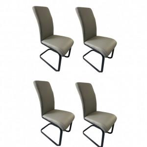 Set de 4 scaune tapitate Abby, negru/gri, 59 x 43 x 96 cm
