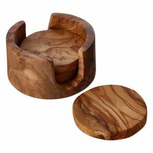 Set de 4 suporturi / coastere pahare din lemn