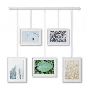 Set de 5 rame foto, metal/sticla, albe, 69,55 x 66,04 x 69,34 cm