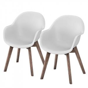 Set de 6 scaune de gradina Volcano plastic/lemn masiv de salcam, alb, 58 x 83 x 59 cm