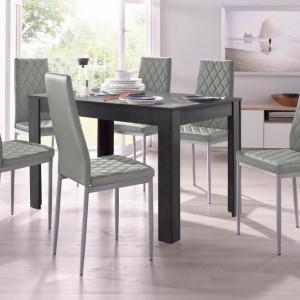 Set de living Lynn/Brooke - 4 scaune si o masa - gri/gri - 120/80/75