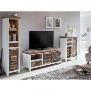 Set de mobilier pentru living Camerton, lemn masiv, maro/alb
