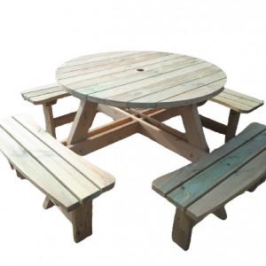 Set de picnic Palleto, 1 masă rotundă și 4 bănci, lemn masiv de pin
